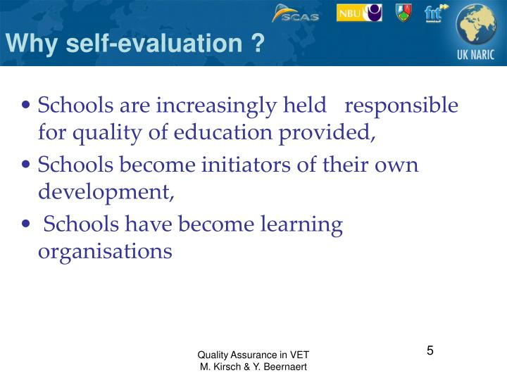 Why self-evaluation ?