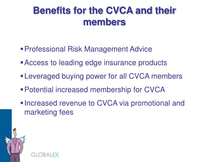 Benefits for the CVCA and their members