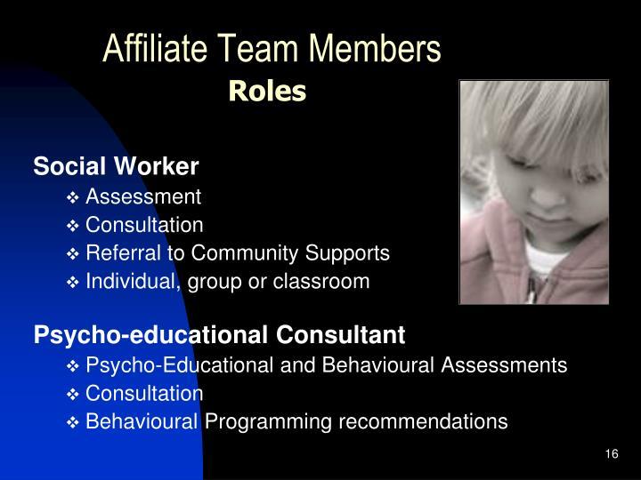Affiliate Team Members