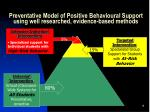 preventative model of positive behavioural support using well researched evidence based methods