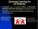 universal learning for all students