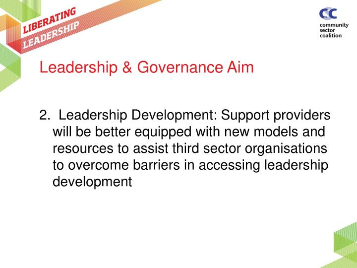 Leadership & Governance Aim