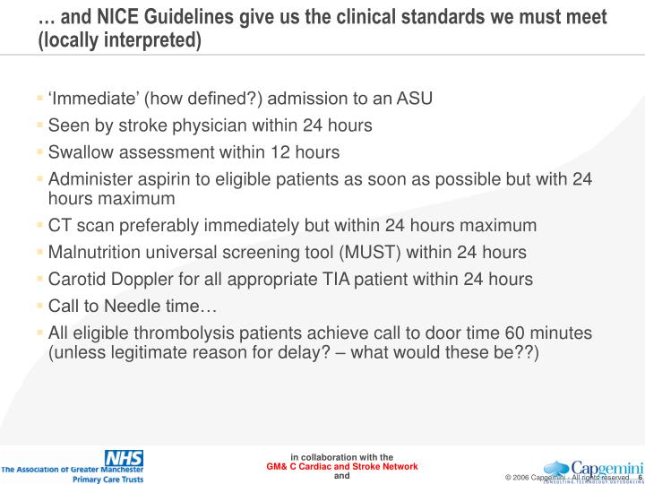 … and NICE Guidelines give us the clinical standards we must meet (locally interpreted)