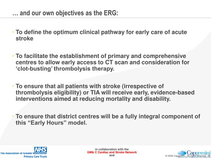 … and our own objectives as the ERG: