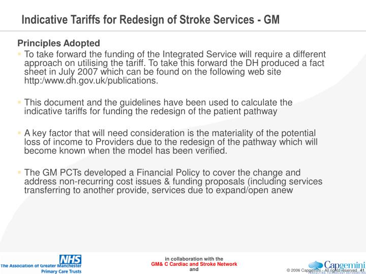 Indicative Tariffs for Redesign of Stroke Services - GM