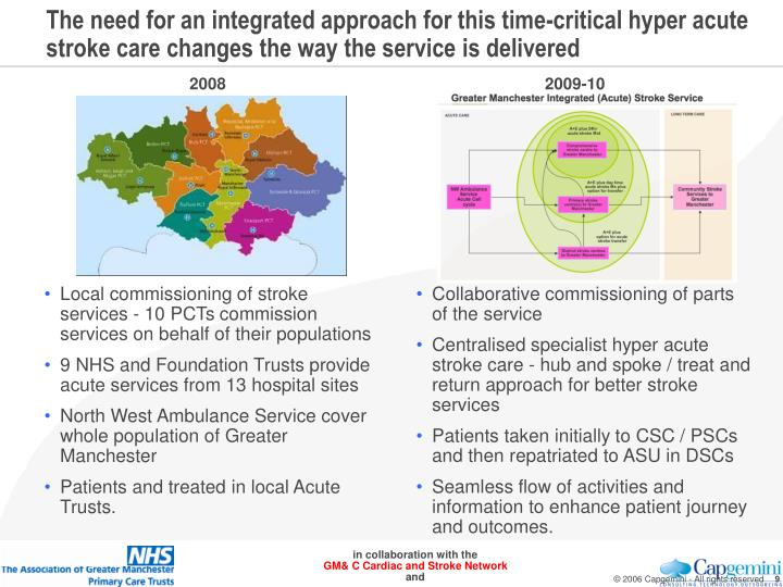 The need for an integrated approach for this time-critical hyper acute stroke care changes the way the service is delivered
