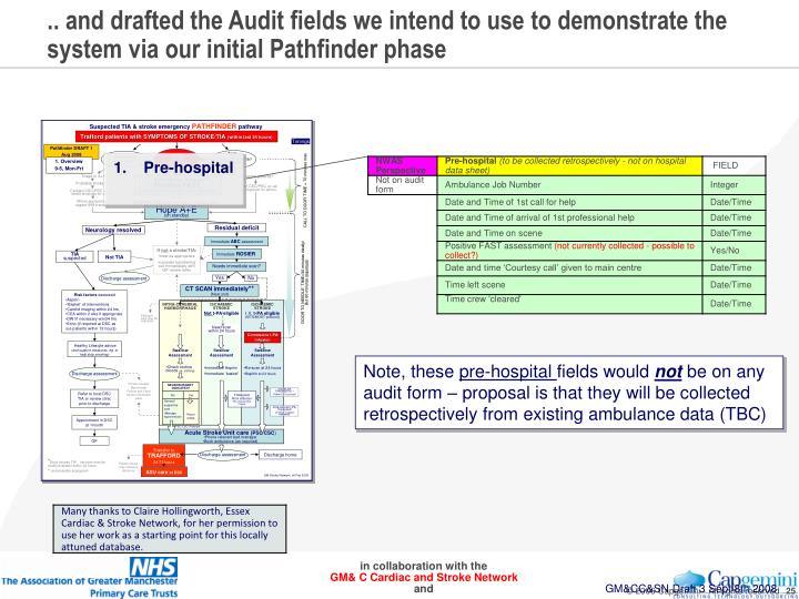 .. and drafted the Audit fields we intend to use to demonstrate the system via our initial Pathfinder phase