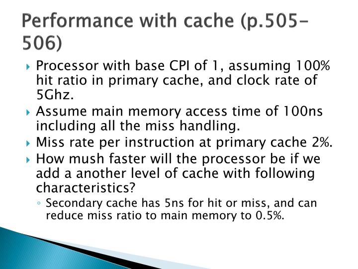 Performance with cache (p.505-506)