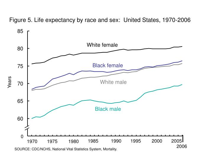 Figure 5 life expectancy by race and sex united states 1970 2006