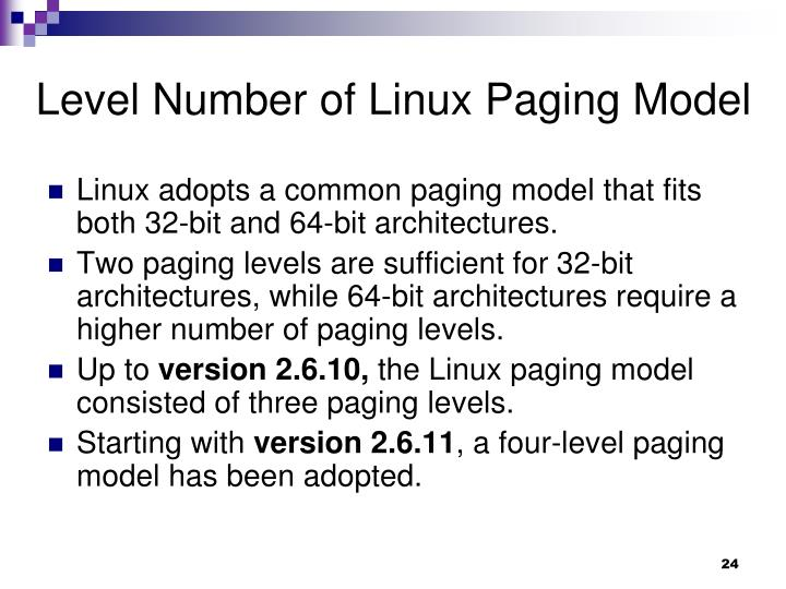 Level Number of Linux Paging Model