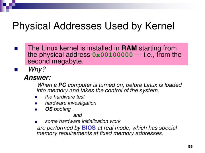 Physical Addresses Used by Kernel