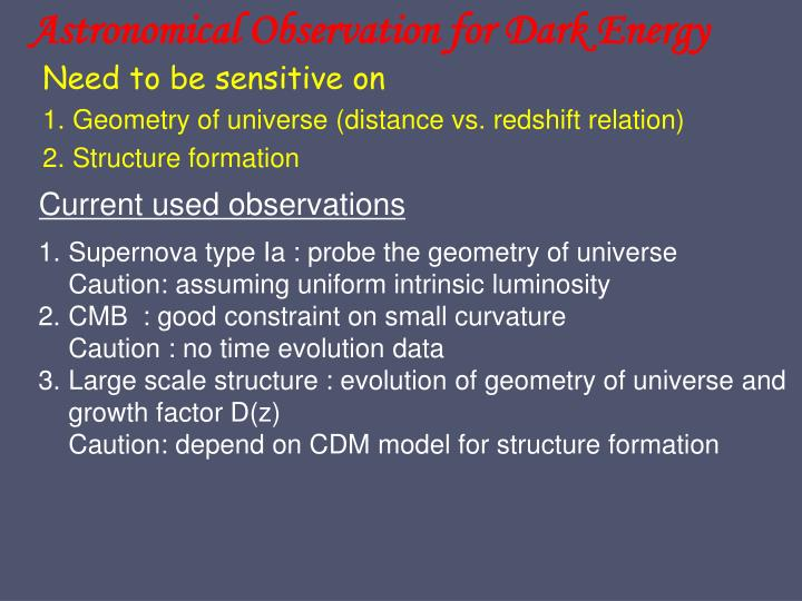 Astronomical Observation for Dark Energy