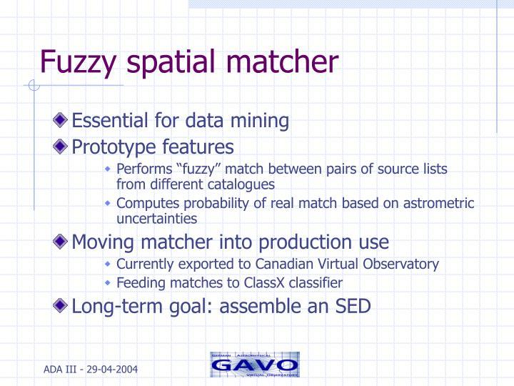 Fuzzy spatial matcher