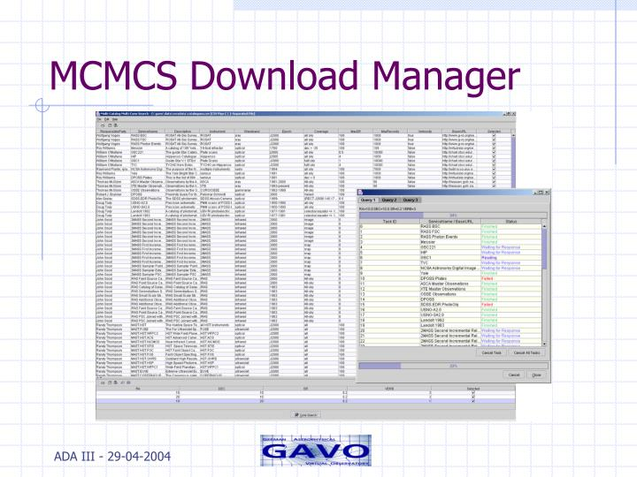 MCMCS Download Manager