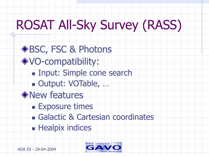 ROSAT All-Sky Survey (RASS)