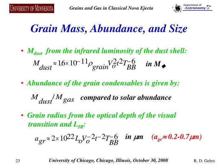Grain Mass, Abundance, and Size