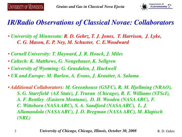 IR/Radio Observations of Classical Novae: Collaborators