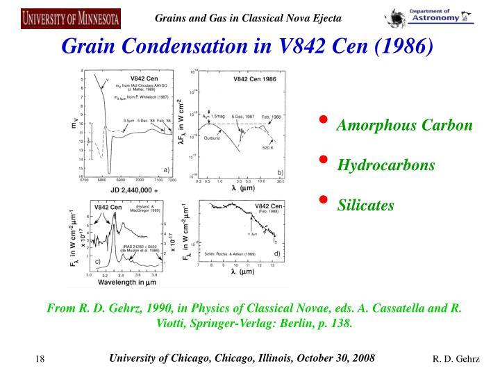 Grain Condensation in V842 Cen (1986)