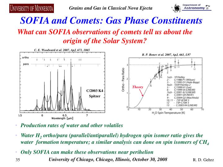 SOFIA and Comets: Gas Phase Constituents