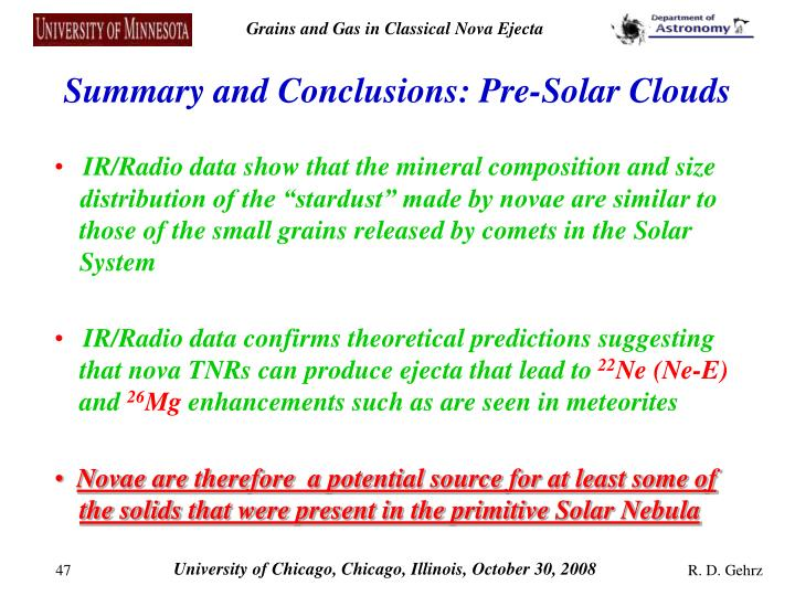 Summary and Conclusions: Pre-Solar Clouds