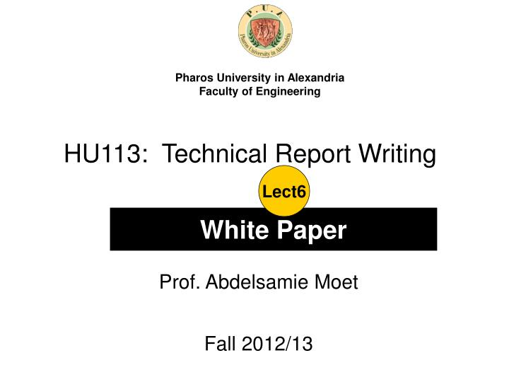 HU113:  Technical Report Writing