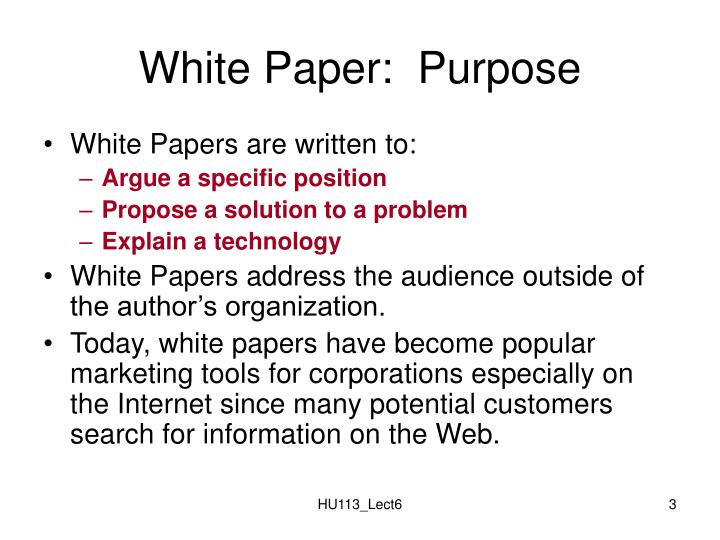 White Paper:  Purpose