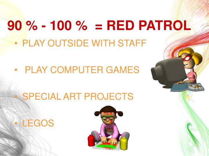 90 % - 100 %  = RED PATROL