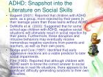 adhd snapshot into the literature on social skills