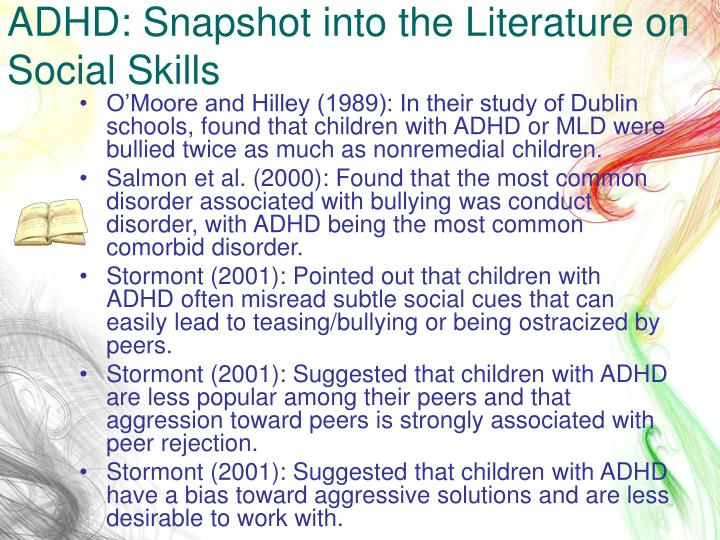 ADHD: Snapshot into the Literature on Social Skills