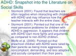 adhd snapshot into the literature on social skills3