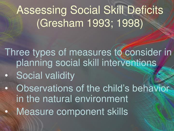 Assessing Social Skill Deficits