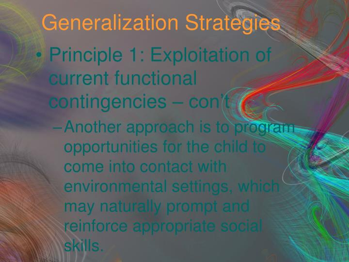 Generalization Strategies