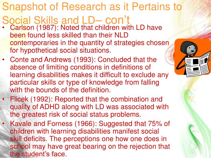 Snapshot of Research as it Pertains to Social Skills and LD