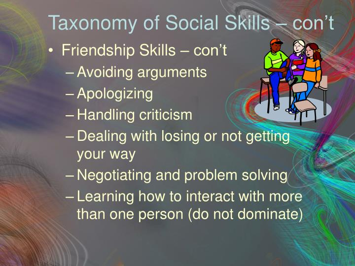 Taxonomy of Social Skills – con't