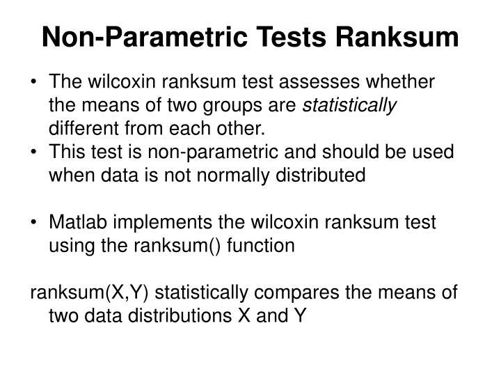 Non-Parametric Tests Ranksum