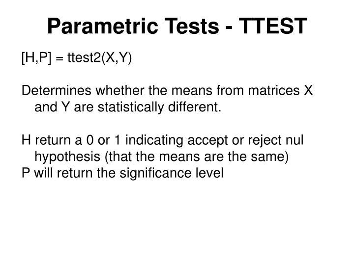 Parametric Tests - TTEST