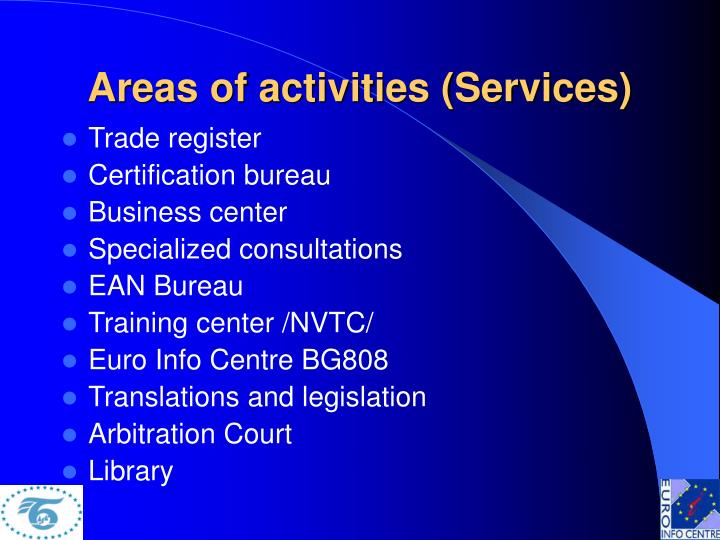 Areas of activities (Services)