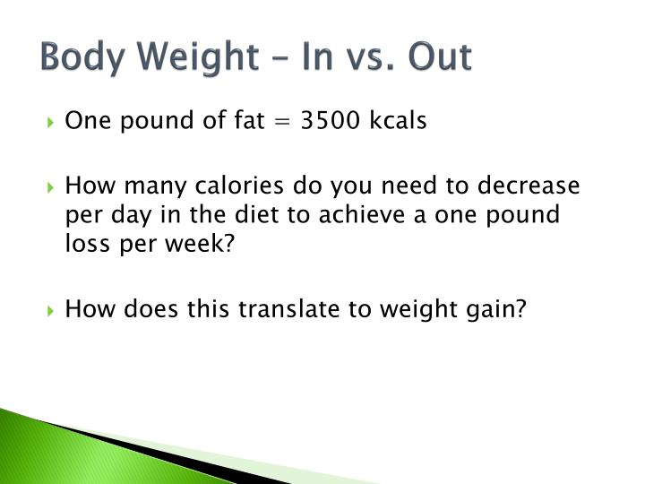 Body Weight – In vs. Out