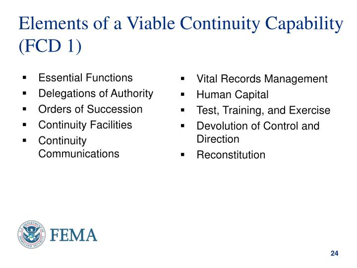 Elements of a Viable Continuity Capability (FCD 1)