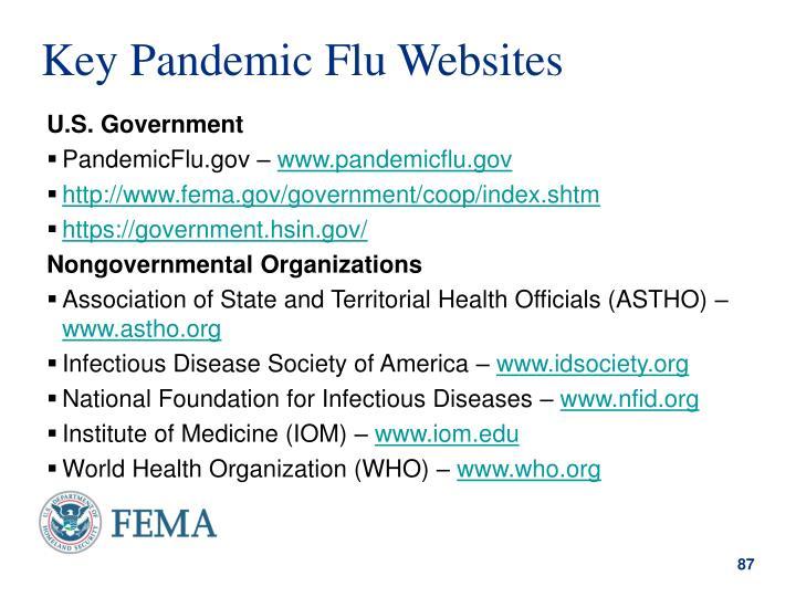 Key Pandemic Flu Websites