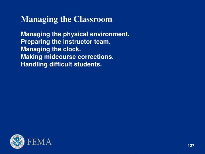 Managing the Classroom