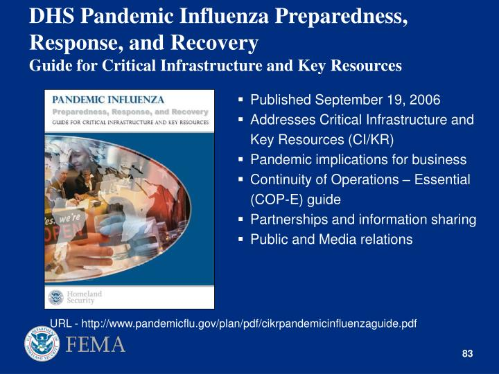 DHS Pandemic Influenza Preparedness, Response, and Recovery