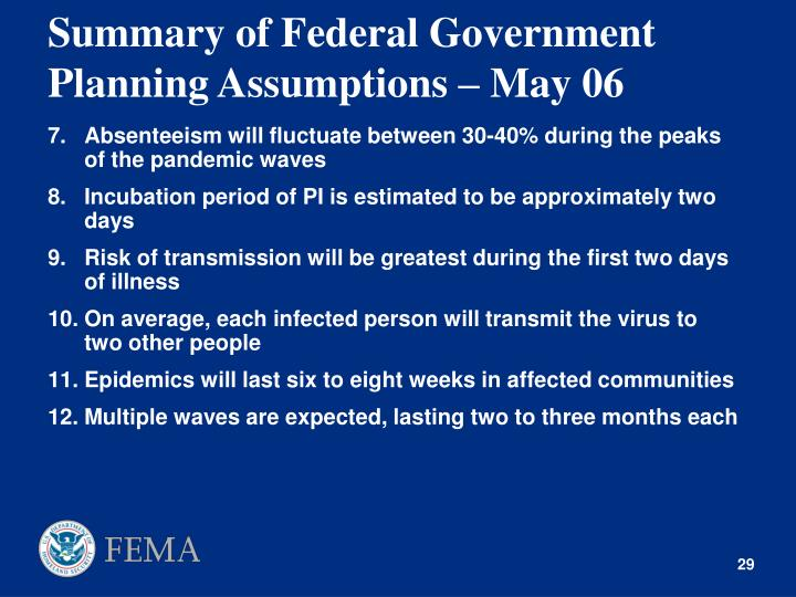 Summary of Federal Government Planning Assumptions – May 06