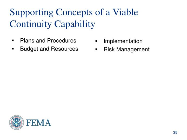 Supporting Concepts of a Viable Continuity Capability