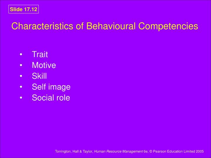 Characteristics of Behavioural Competencies
