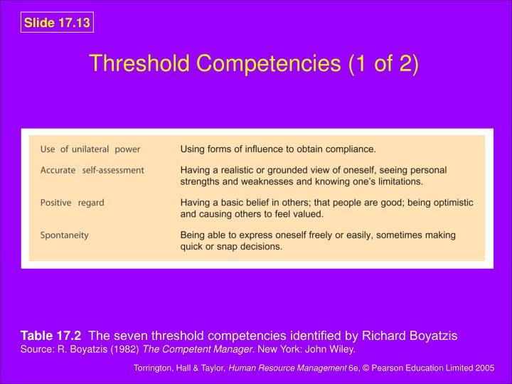 Threshold Competencies (1 of 2)