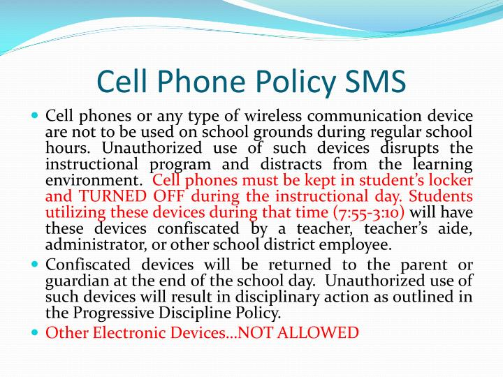 Cell Phone Policy SMS