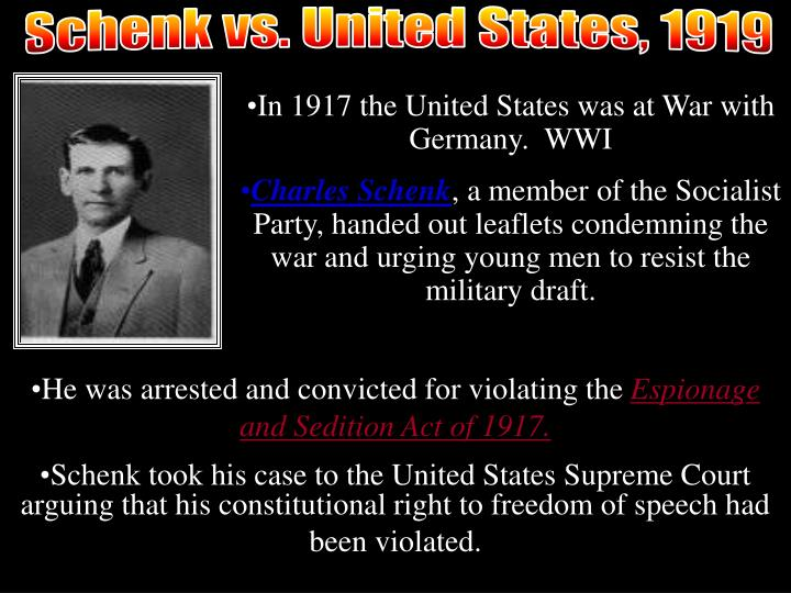 Schenck v. U.S.: Visual
