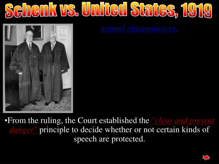 Schenk vs. United States, 1919