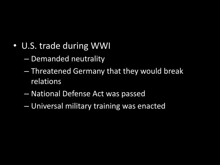 U.S. trade during WWI